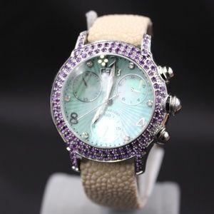 Diamond Amethyst 3.31 Tcw Unisex Watch